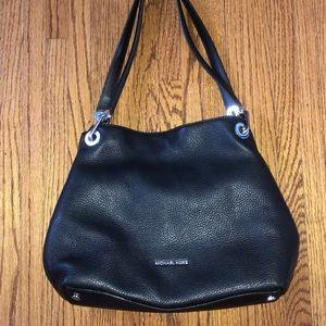 Michael kors raven leather black purse tote